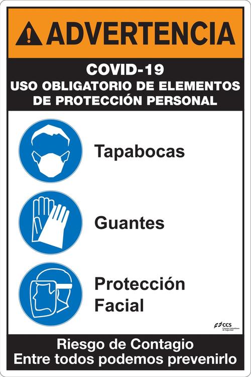 SEÑAL COVID-19 USO EPP TAPABOCAS GUANTES PROTECCIÓN FACIAL
