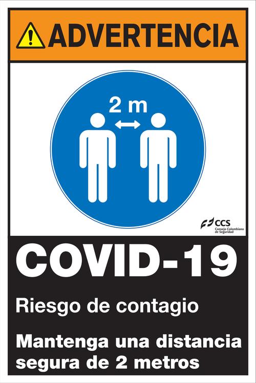 SEÑAL COVID-19 MANTENGA UNA DISTANCIA SEGURA DE 2 METROS