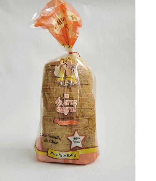 Pan arroz tajado chia  550 gr