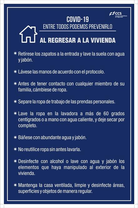 SEÑAL COVID-19 AL REGRESAR A LA VIVIENDA