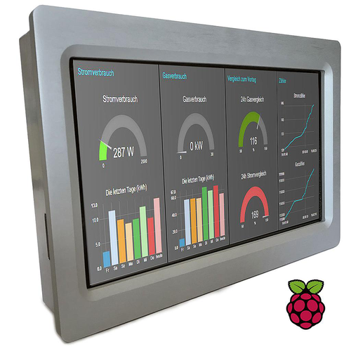 Touchberry PI 10.1 4B UPS & RTC & RS485 (Panel PC Industrial EMC Aluminum - Raspberry PI 4 B Included + µSD Card with Raspbian - UPS,RTC,RS485 functions included)