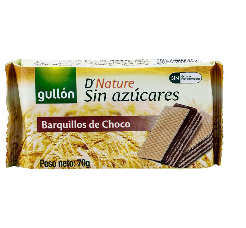 Wafer barquillos chocolate 70 gr